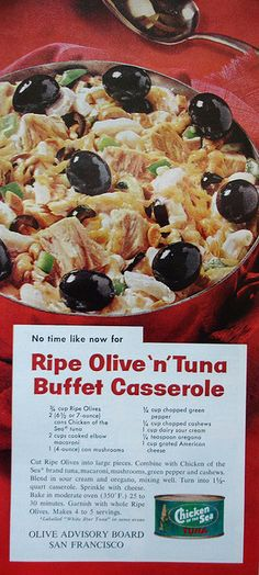 Chicken of the Sea ad with recipe for Olive 'n' Tuna Casserole    Woman's Day - February 1962