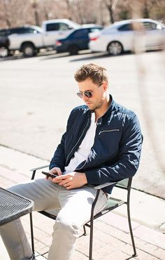 Navy jacket | Grey khakis
