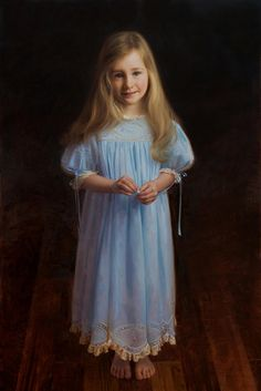 Classic full-length oil portrait of a girl by a Portraits, Inc. artist
