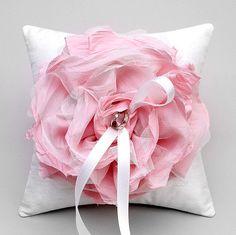 Wedding ring pillow  pink flower bridal ring bearer by woomipyo, $40.00