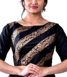 Black Raw Silk with Black Khimkhab Designer Blouse - Image 1 Brocade Blouse Designs, Blouse Designs High Neck, Stylish Blouse Design, Fancy Blouse Designs, Blouse Patterns, Zeina, Sarees, Desi Wear, Black Blouse