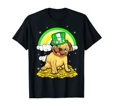 Patrick's Day Pug Dog T-Shirt. Irish Costumes, Leprechaun Hats, Cute Pugs, Shirt Price, S Star, Funny Faces, Branded T Shirts, Dog Lovers, Cool Designs
