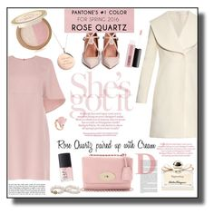 """""""Valentino Rose Quartz Dress Outfit - Pantone Color 2016"""" by helenehrenhofer ❤ liked on Polyvore featuring Valentino, J.W. Anderson, MAC Cosmetics, Kate Spade, Salvatore Ferragamo, Too Faced Cosmetics and NARS Cosmetics"""