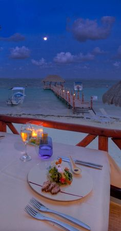 Gourmet Dinner overlooking the Caribbean Sea. Romantic nights in The Riviera Maya Mexico. Azul Beach, Karisma, Gourmet Inclusive, Riviera Maya, Family Vacation, Honeymoon, Wedding, Travel, Mexico #Wedding #Travel #Mexico #Beach