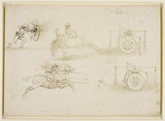 A drawing of an archer aiming an arrow through the aperture in a shield, which is part of his bow; a design for a war-machine which, when pulled by two horses, will cause canon-balls to fly out horizontally; a man on horseback charging with a set lance