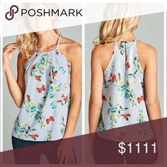 """Butterfly Floral Racerback Tank Racerback tank in a butterfly multi floral polyester print has a high neckline with subtle pleating and a keyhole back. Bust laying flat- S 17"""" M 18"""" L 19. Length- S 22"""" M 23"""" L 24"""" 1 North 1 South Tops"""