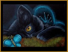 Art: Fantasy Cat - Fairy Cat 3 by Artist Cyra R. Cancel by Sandra Horta e Silva I Love Cats, Crazy Cats, Cute Cats, Black Cat Art, Black Cats, Image Chat, Cat Drawing, Art Portfolio, Illustrations