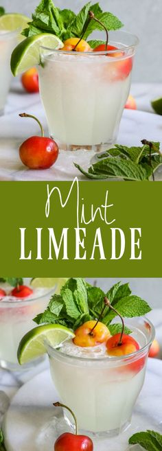 Mint Limeade. The perfect cold refreshing drink for summertime! Made with fresh lime juice and real mint.