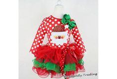 Christmas Long-sleeved Pleated Layered Clothing Santa Claus Polka-dot Bowknot Gauze Dress