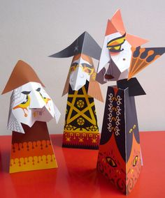 Tabletop Witches: Paper Engineering Project by Sally Boyle, via Behance