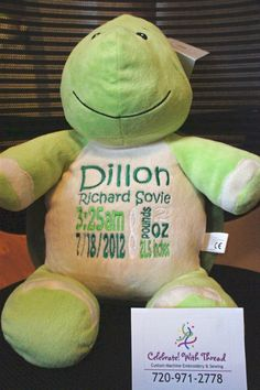 Personalized Baby Cubbie by CelebrateWithThread on Etsy, $30.00 You can pitch from multiple stuffed animals.  So cute!