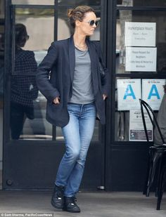 Laid-back: Vanessa Paradis cut a low-key figure as she stepped out in a loose-fitting, menswear ensemble in Los Angeles on Friday