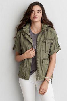AEO Military Poncho Jacket (Coat), Women's, Size: 2XL, Olive Green