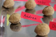 Easy Walnut Labels | Try this at your next dinner party!