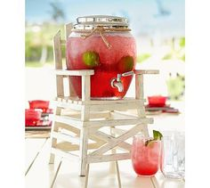 "Lifeguard Drink Dispenser Stand #potterybarn - Details      Overall: 10"" square, 19"" high     Seat: 10"" square"