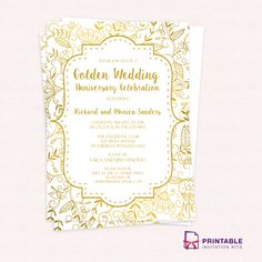 Free PDF Wedding Invitation Download Foliage Borders Invitation - Wedding invitation templates: wedding anniversary invitations free templates