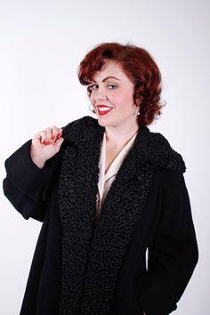 1940s Vintage Coat Black Wool Persian Lamb Late by stutterinmama, $124.00