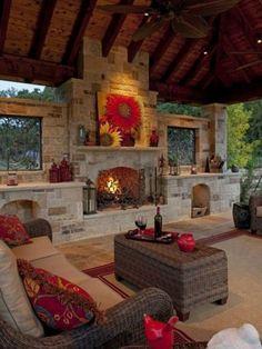 Rustic Outdoor Fireplace Design Ideas 1087