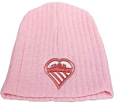 Sugar Pink Knitted Beanie Hat with Manchester Shield
