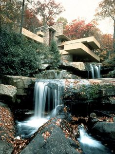 Falling Water-designed by Frank LLoyd Wright--Mill Run PA. I've had the pleasure of touring it. Organic Architecture, Amazing Architecture, Art And Architecture, Architecture Details, Pavilion Architecture, Residential Architecture, Contemporary Architecture, Falling Water Frank Lloyd Wright, Frank Lloyd Wright Homes