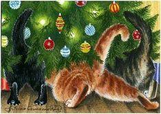 "Kitty Art - ""Where Is My Present?"" by Irina Garmashova Christmas Scenes, Noel Christmas, Christmas Animals, Vintage Christmas Cards, Christmas Cats, Christmas Pictures, Xmas, Illustration Noel, Christmas Illustration"