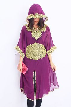 Moroccan Purple Hoodie Tunic caftan dress Gold by aboyshop on Etsy, $49.99