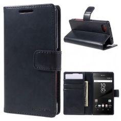 Sony Xperia Z5 Compact tumman sininen puhelinlompakko.