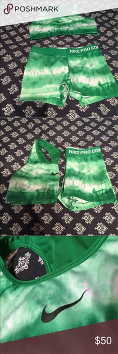 Nike pro set ( bra and shorts) Nike pro combat shorts and sports bra No marked size on the top, fits medium Bottoms are small Worn but in good condition.  Rare print Nike pros Nike Other