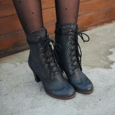 Lace-Up Wing-Tip Boots