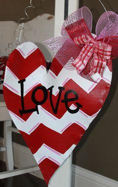 Red and White Chevron Heart Valentine's Door Hanger by abossard