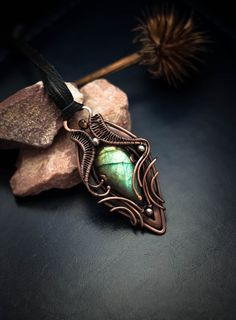 WireAjur.  Wire wrapped pendant labradorite necklace Labradorite