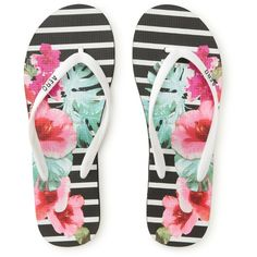 756457f6e73 Floral Snapshot Striped Flip-Flop (6.47 CAD) ❤ liked on Polyvore featuring  shoes