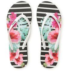 Floral Snapshot Striped Flip-Flop (6.47 CAD) ❤ liked on Polyvore featuring shoes, sandals, flip flops, scarpe, blossom shoes, floral print shoes, flower flip flops, synthetic shoes and floral flip flops