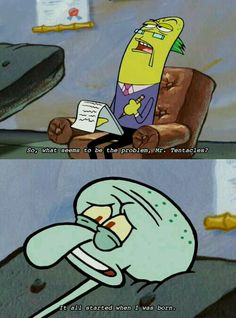 "And finally, when Squidward decided to just let everything out: 24 Jokes From ""SpongeBob SquarePants"" That Will Honestly Never Not Be Funny Funny Spongebob Memes, Funny Relatable Memes, Funny Posts, Squidward Meme, Watch Spongebob, Funny Shit, Funny Cute, Hilarious, Memes Humor"