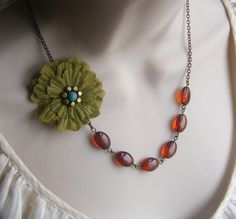 Pea Green Fabric Flower Beaded Necklace by lakeshorecreations4u, $28.00