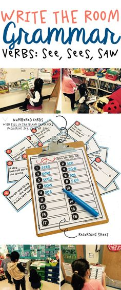 A fabulous printable write the room activity for teaching elementary school kids the forms of verb see (see, sees, saw). Kids have fun learning and moving around the classroom. Helps students learn subject verb agreement. Great for lessons with ELL and ES
