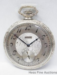 Gorgeous Art Deco Elgin 12S 17J Running Engraved Vintage Mens Pocket Watch