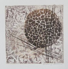 This framed abstract collagraph print makes a unique addition to your home. It is a one-of-a-kind print; there are no other reproductions. A
