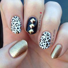 awesome nail art #nail #unhas #unha #nails #unhasdecoradas #nailart #gorgeous #fashion #stylish #lindo #cool #cute #fofo #oncinha #leopard #black #preto #dourado #gold