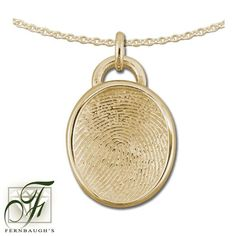 14K Yellow Gold - 17mm Fingerprint - (Does not include chain) $779.99 Fingerprint Jewelry, Pendant Necklace, Chain, Yellow, Gold, Drop Necklace, Chain Drive