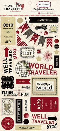 Carta Bella Paper - Well Traveled Collection - Chipboard Stickers at Scrapbook.com $3.99