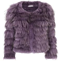 Alice + Olivia Fawn Mauve Cropped Fur Jacket (170 KWD) ❤ liked on Polyvore featuring outerwear, jackets, coats, fur, tops, purple jacket, purple fur jacket, fur jacket, cropped fur jacket and cropped jacket