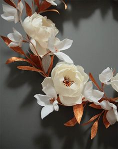 Hand crafted crepe paper flower wreath by Papetal, Christmas collection available at boutique, Surrry Hills Paper Flower Wreaths, Crepe Paper Flowers, Paper Roses, Flower Crafts, Fabric Flowers, Paper Peonies, Handmade Flowers, Diy Flowers, White Flowers
