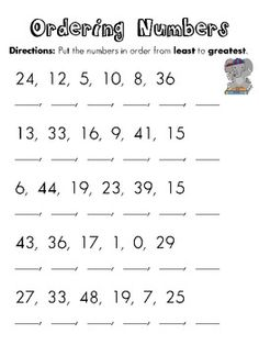 Worksheets Least To Greatest Worksheets number worksheets math and group on pinterest order numbers from least to greatest good assessment