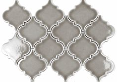 Currently $10.25 a square foot Dove Gray Arabesque Glazed Crackle Mosaic Lantern Tile. On mesh mosaic making installation easier. #arabesque