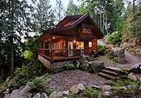 Moon Dance Cabin, Pender Harbour, Sunshine Coast BC.   What a welcoming light.
