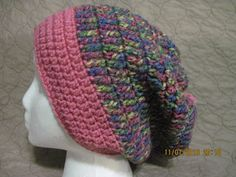 multi-color slouchy with pink brim by HatsForHumansByCarol on Etsy