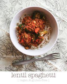 healthy recipe : lentil spaghetti