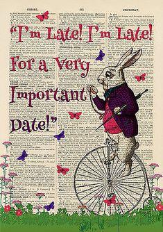 Set of 4 Alice in Wonderland Antique Book page Art Prints A4-Nursery Set 3 Pink