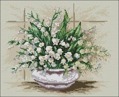 "Free cross-stitch design ""Lilies of the valley"" 